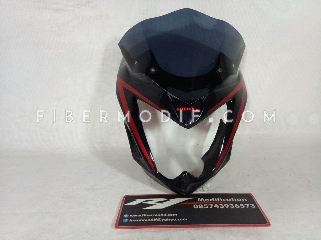 Cover Headlamp Verza Black Red Custom Nama