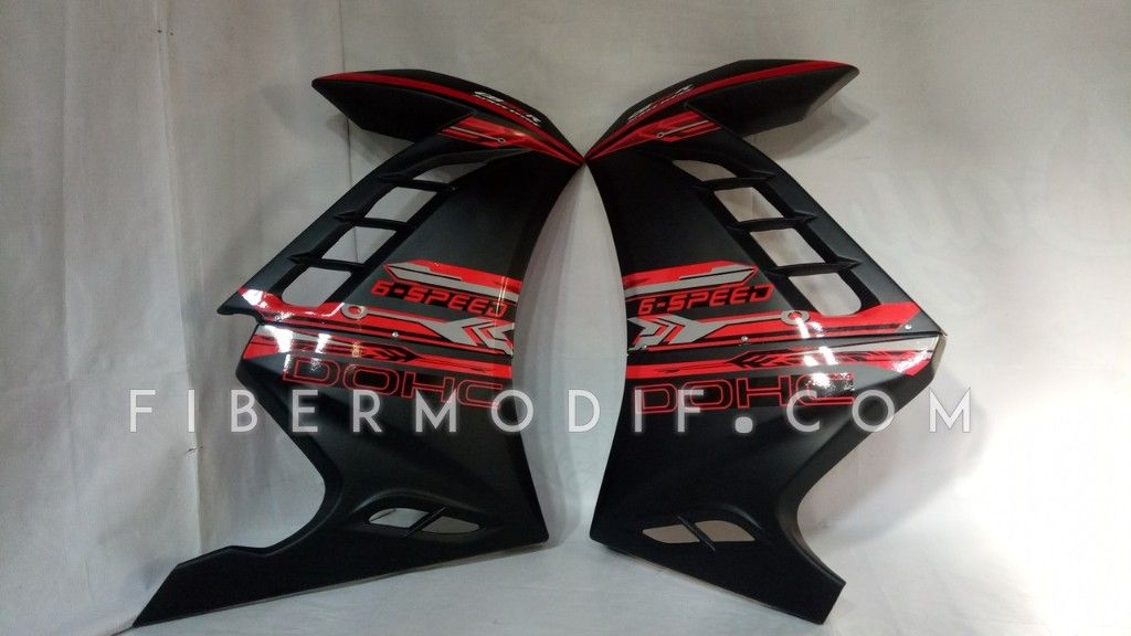 Half Fairing untuk New CB150R model Ninja 250 FI Black Red Electro