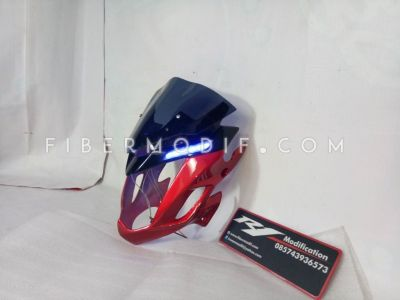 Cover Headlamp CB150R Merah + Alis LED Biru
