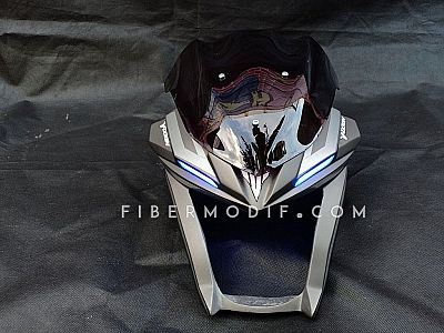 Cover Headlamp Vixion R LED Grey Matte Striped