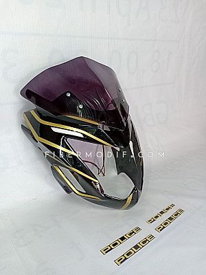 Cover Headlamp Blue LED Old CB150R Black Gloss Golden Striped