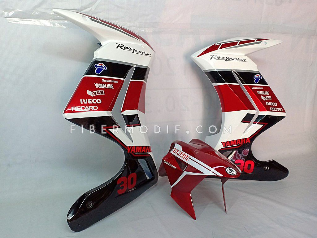 Half Fairing Vixion Advance Lightning + Slebor Depan model H2 - White Red GP Sponsor