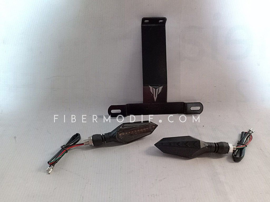 Dudukan Plat Nomor Custom + Lampu Sein LED - Running Racing LED
