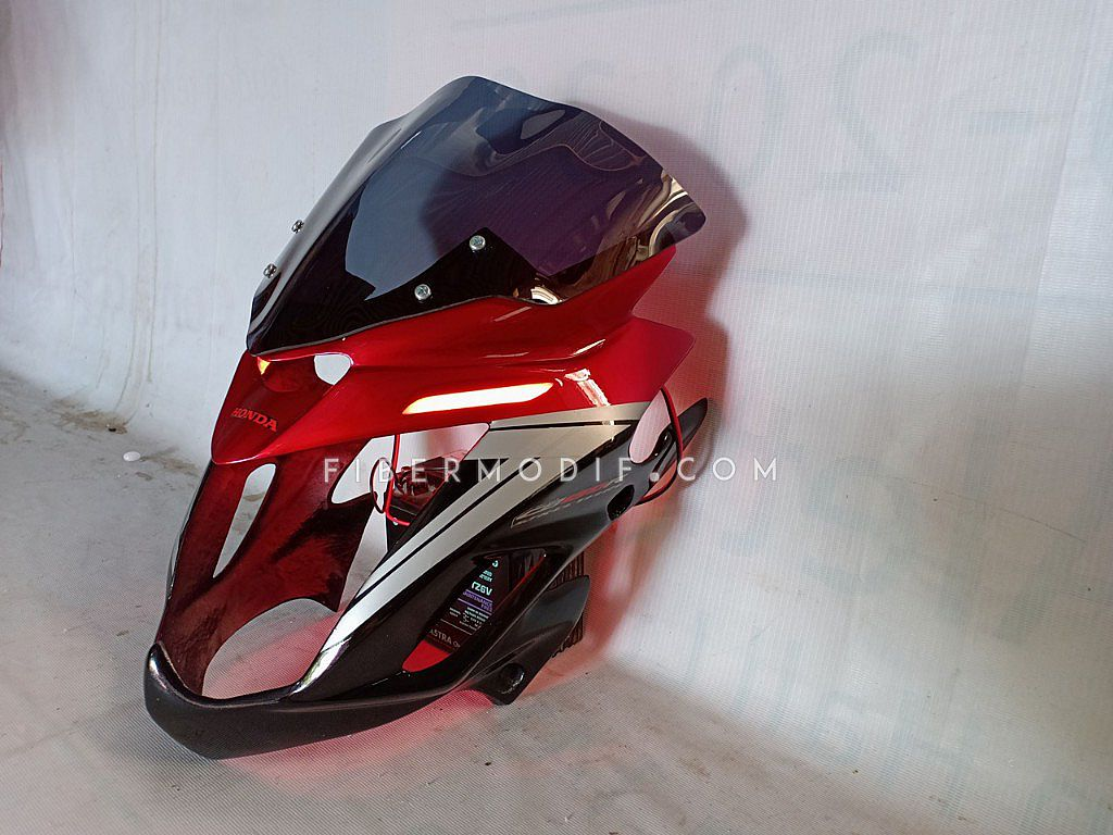Cover Headlamp Old CB150R LED - Dual Tone Black Red Glossy