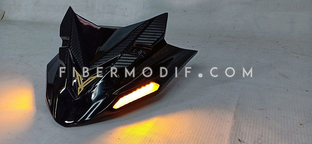 Crown All New Vixion - Black Glossy Carbon Texture