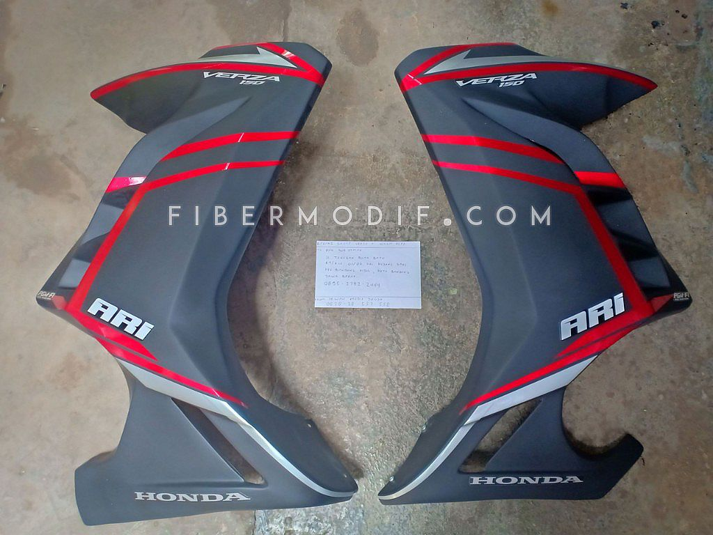 Half Fairing Verza 150 model Ninja 250 FI - Black Matte n Red-Gray Strip ARI