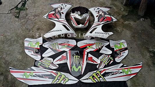 Cover Headamp + Half Fairing Custom Verza White Naruto Decal & Decal Movistar Monster
