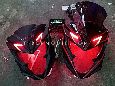 Topeng All New CB150R Black Doff Flat n Red Striped