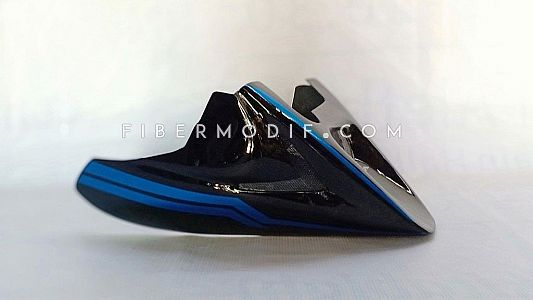 Cover Mesin untuk Motorsport Universal Black Gloss Deep Blue Striped