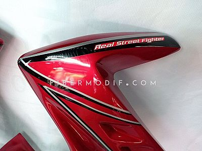 Fairing Megapro Monoshock Red Gloss Black White Strip Real Street Fighter