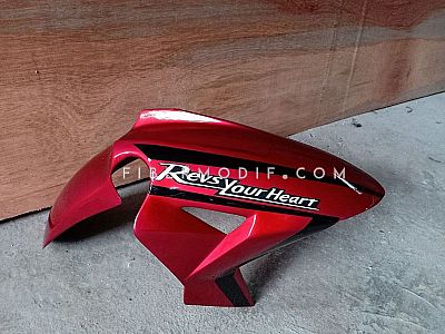 Slebor Depan model H2 Universal Motor Sport Red Gloss Black Striped Revs Your Heart