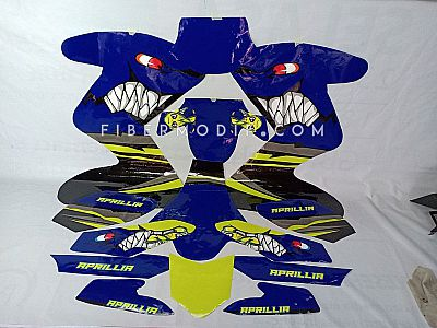 Laminated Decal Angry Blue Shark and Fish Aprillia for Vixion Advance Lightning