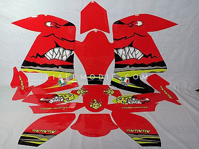 Laminated Decal Red Angry Shark AGU Chasbi Fauziyan for Vixion Advance Lightning