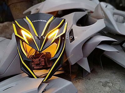 Cover Headlamp Yellow LED All New CB150R - Black Matte Yellow Striped