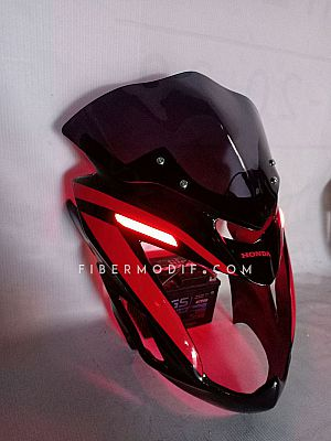 Cover Headlamp Red LED Old CB150R - Black Gloss Red Striped