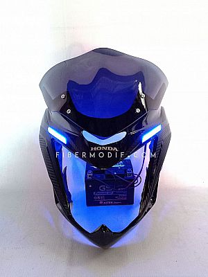Cover Headlamp + Spakbor Kolong Old CB150R - Black Glossy Kevlar Striped