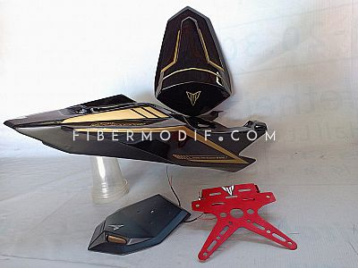 Body Belakang Custom All New Vixion - Black Gloss Gold Striped