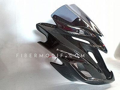 Half Fairing model FI + Topeng LED Verza 150 - Black Gloss Red White Striped