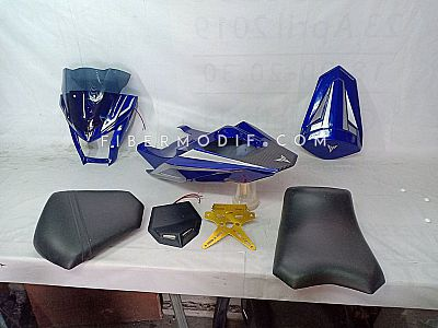 Body Belakang Set  + Cover Headlamp All New Vixion - Deep Blue Gray White Striped