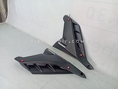 Middle Cowl Cover Deltabox All New Vixion R - Black Matte Red LED