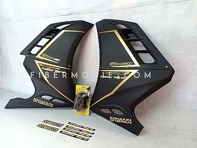 Half Fairing All New Vixion R - Black Matte Gold Striped Ozulfikar Asyrah