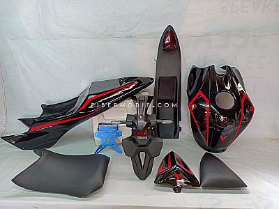 Kondom Tangki Custom + Body Belakang Set Custom - Vixion Advance Lightning - Black Gloss Red Striped