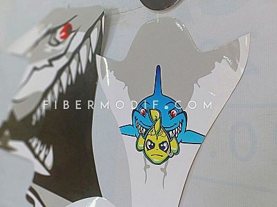 Sticker Decal Vixion - Gray VR Angry Fish n Shark