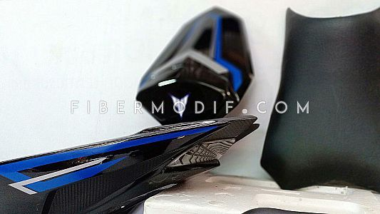 Set Body Belakang Custom Kit All New Vixion - Hitam Gloss-Doff Karbon corak Biru-Putih