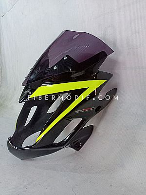 Cover Headlamp CB150R Custom - Black Glossy Yellow Lime Striped