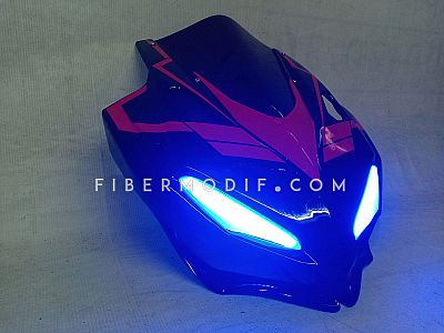 Cover Headlamp CBR150R Facelift model CBR250RR Blue LED - Black Gloss n Red V Striped