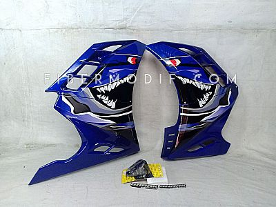 Fairing All New Vixion model FI - Blue Gloss Angry Shark Decal