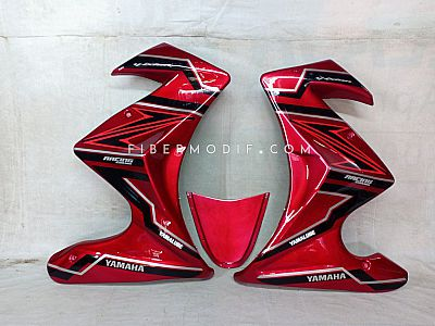 Half Fairing Old Vixion model Custom + Undertail - Red Gloss with Abstract Black Art