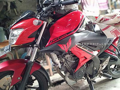 Cover Tangki + Shroud Custom model MT untuk All New Vixion R - Red n Black Strip MTracing